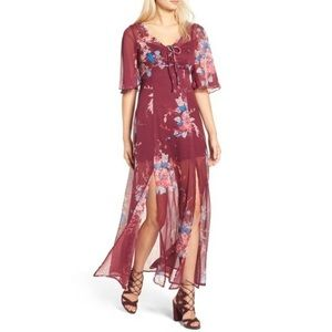 Band of Gypsies Red Floral Chiffon Maxi Dress